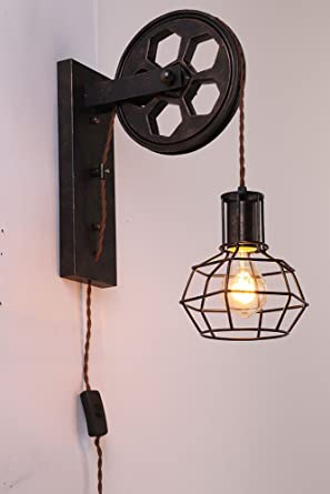 Kiven plug in dimmable plley industrial cage wall sconce vintage kiven plug in dimmable plley industrial cage wall sconce vintage wall light fixture industrial retro mozeypictures Image collections