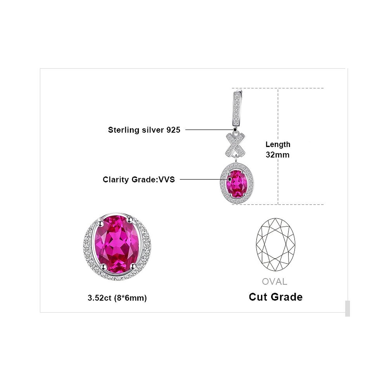 JewelryPalace Classico 3.5ct Ovale Sintetico Rosa Zaffiro Halo Goccia  Dangle Orecchini 925 Sterling Argento: Amazon.it: Gioielli