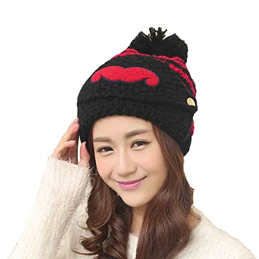 172ea72188c Alexstudio Women s Fashion Women Girl Warm Winter Knitted Hats Outdoor Mask  Cap (Black)