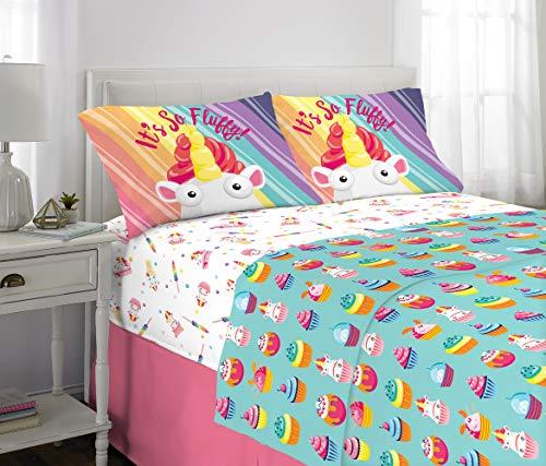 Franco Kids Bedding Super Soft Microfiber Sheet Set, 4 Piece Full Size, Fluffy Unicorn