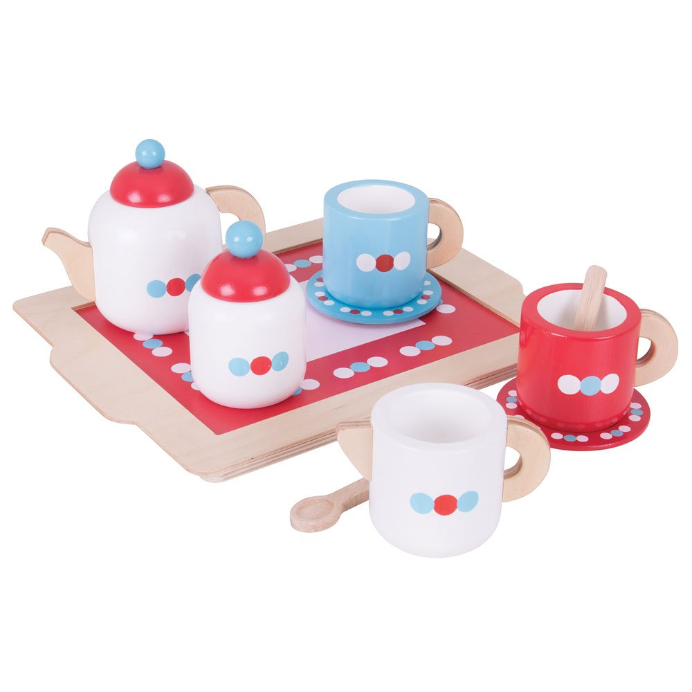 Bigjigs Toys Wooden Tea Tray Play Set - Pretend Play and Role Play for Children