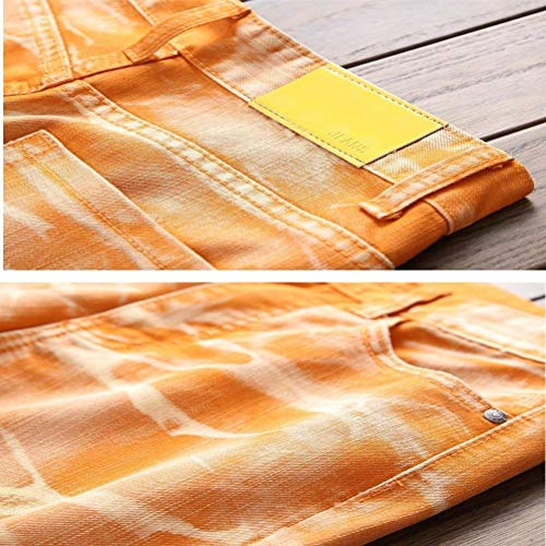 Rette Targogo Orange Orifizi Essentials Casuale Fit Slim Jeans Cher Lavato Retrò Uomini Pantaloni Denim Gamba 6rznfWIar