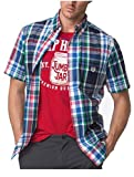 Chaps Men's Easy Care Gingham Woven Short-Sleeve Shirt (X-Large Tall, Newport Navy)