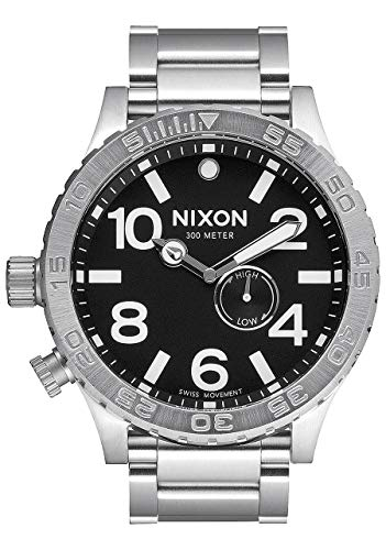 NIXON 51-30 Tide A057 - Black - 300m Water Resistant Men's Analog Surf Watch (51mm Watch Face, 25 mm Stainless Steel Band) (Nixon 51 30 Tide Watch)