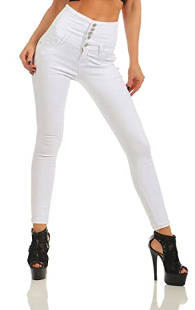 11419 Fashion4Young Damen Jeans Röhre Damenjeans Stretch Denim High-Waist Hose  Slim-Fit Slimline e787571b41
