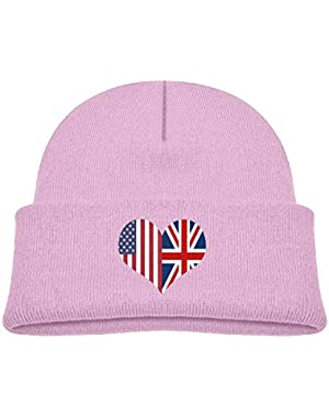 Warm British American Flag Heart Printed Toddlers Baby Winter Hat Beanie