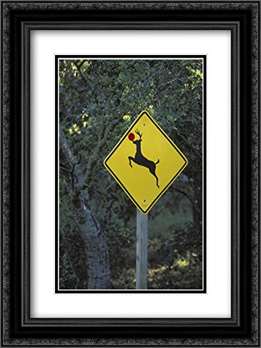 CA, Rudolph the reindeer crossing sign on Highway 2x Matted 18x24 Black Ornate Framed Art Print by Grall, Don (Crossing Highway Sign Posters)
