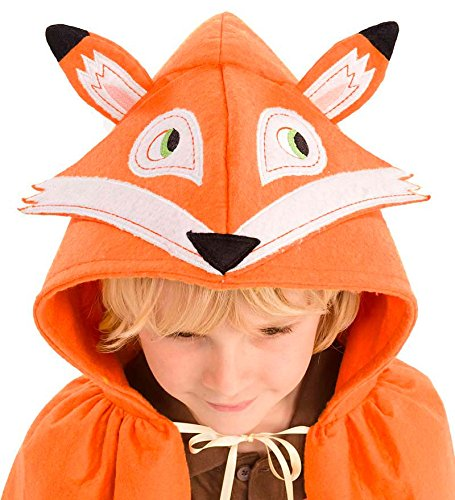 Forest Friend Animal Dress Up Costume Cloak Cape for Kids, Polyester Felt, 38'' L - Fox -