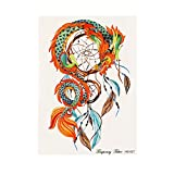 Dream Catcher Temporary Tattoos for Women Realistic Waterproof Body Tattoos Stickers Removable Art Paper Fake Tattoos Party Favors for Women & Girls 1PC (C)