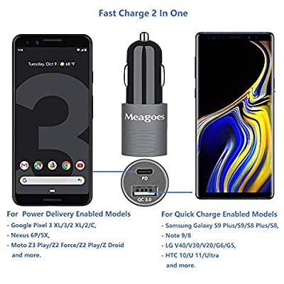 Meagoes Rapid USB PD Car Charger, Compatible for Google Pixel 4 XL/4/3 XL/3/3a XL/3a/2 XL/2/XL, Moto Z3 Play/Z2, 18W Power Delivery and Quick Charge 3.0, Dual Ports Car Adapter with USB C to C Cable: Home Audio & Theater