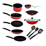 KUMAKA Premium Quality 2.6mm Thickness 12 pcs Non-stick Cookware Set with Lid and spoons Cookware Set