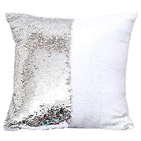 Bling Paillette Decorated Chair Seat Back Cushion Cover ChezMax Throw Pillow Case Slip Sham Slipover Pillowcase For Unisex Kids Children Boys Girls Painting White and Silver White