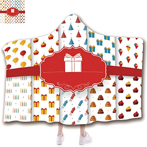 Wearable Hooded Blanket with Thicken Soft Plush and 3D Printed Pattern Suit for Kids(51