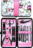 New Improved Tools, Beautiful 12pcs Stainless Steel Manicure Pedicure Set with Beautiful Rose Leather Case.