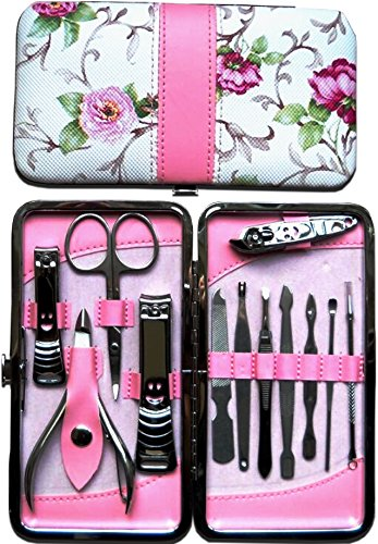 Drs Pro Choice: New Improved Surgical Strength Tools, Beautiful 12pcs Stainless Steel Manicure and Pedicure Set with Beautiful Rose Case.