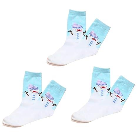 Kanggest. 3pares Set de calcetín de Navidad Lindo para Mujer, Calcetín de diseño de