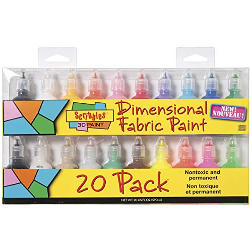 Bulk Buy: Scribbles Shiny 3D Paint - Pack of 20 Ultra Bright, Nontoxic & Permanent Dimensional Paints for Fabrics, T-shirts, Backpacks, Posters, Glass, Wood and More