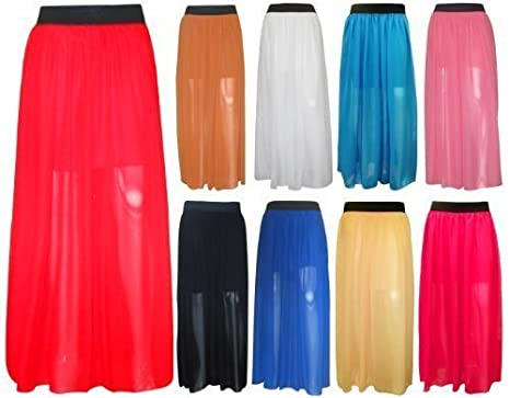 327b2e2b9 Oromiss Womens Ladies Chiffon Maxi Gypsy Skirt Sheer Plain Long Summer  Beach Skirts