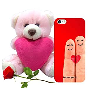 Valentine Gifts Homesogood First Heartbeat Of Love Red 3D Mobile Case For iPhone 5 / 5S (Back Cover) With Teddy & Red Rose