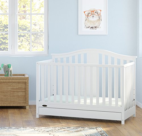 51J2lXzhVML - Graco Solano 4-in-1 Convertible Crib With Drawer, White, Easily Converts To Toddler Bed Day Bed Or Full Bed, Three Position Adjustable Height Mattress, Some Assembly Required (Mattress Not Included)