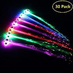 Midafon 30 Pack LED Multicolor Light Flashing Fiber Optic Hair Braid Barrettes Party Favors Party Pack