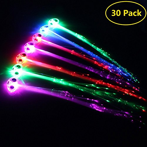 Flashing Led Light - Midafon 30 Pack LED Multicolor Light Flashing Fiber Optic Hair Braid Barrettes Party Favors Party Pack