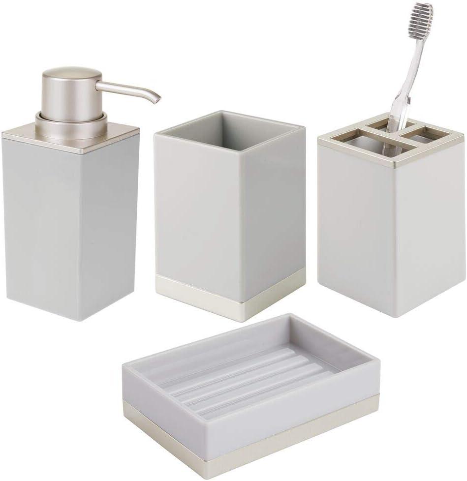 Pr/áctico accesorio para cepillos de dientes y dent/ífrico Excelente soporte para cepillos de dientes para el lavabo o los armarios mDesign Juego de 2 porta cepillos de cer/ámica blanco//plateado
