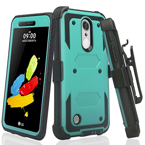 [GW USA] Belt Clip Holster Compatible for LG Rebel 4/Risio 4/Aristo 2/Aristo 2 Plus/Risio 3/Tribute Dynasty/Zone 4/Fortune 2/Rebel 3 LTE Case Full Body Coverage [Built in Screen Protector] - Teal
