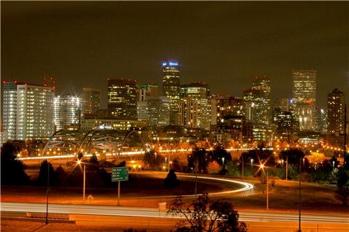 Denver Skyline At Night Glossy Poster Picture Photo colorado broncos nuggets