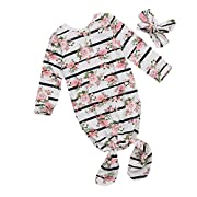 GSHOOTS Baby Long Sleeve Striped Floral Nightgown (70/6-12 Months, Rose Striped)