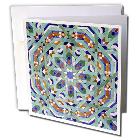 Morocco, Hassan II Mosque mosaic, Islamic tile detail - Greeting Cards, 6 x 6 inches, set of 12 (gc_73581_2) -