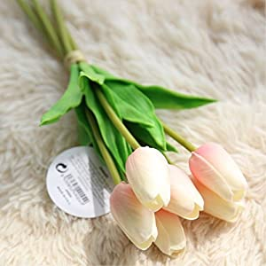 FYYDNZA Artificial Flower Wedding Decoration 6Pcs Diy Tulip Artificial Flowers Vivid Fake Leaf Bouquets Home Decor Flowers 70