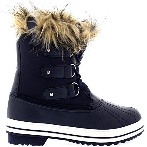 Polar Products Womens Lace Up Rubber Sole Short Winter Snow Rain Shoe Boots Navy Nylon PQNpL