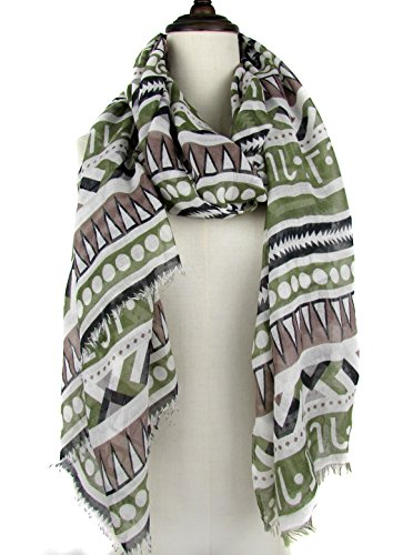 Bohemian Geometric Striped Print Scarf-Multi Colors Mixed Lightweight Scarf for Women (Green White Black (Striped Head Scarf)