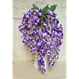 Sweet Home 23 Super Soft Hanging Orchid Silk Artificial Flower Bush (5 Stems) for Wedding/home/party Decorations (Purple)