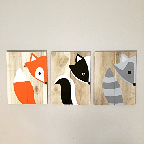 10x14 Set of 3 Woodland Animal Nursery Signs Nursery Decor Baby Shower Gift or Baby (Peak A-boo Collection)