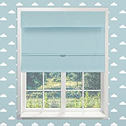 "Chicology Cordless Magnetic Roman Shades / Window Blind Fabric Curtain Drape, Thermal, Room Darkening - Baby Blue, 23""W X 64""H"