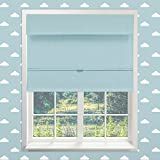 Chicology Cordless Magnetic Roman Shades / Window Blind Fabric Curtain Drape, Thermal, Room Darkening - Baby Blue, 31''W X 64''H
