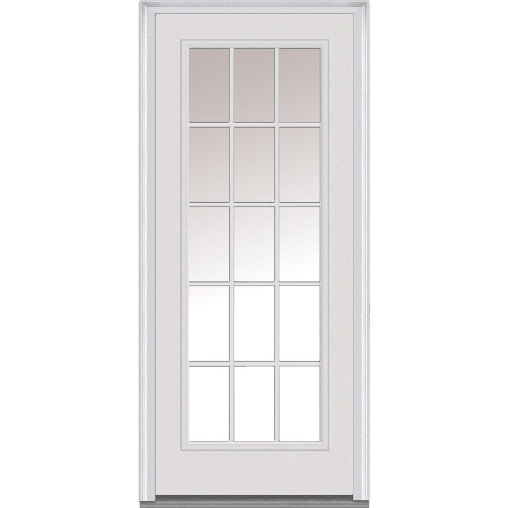 National Door Company Z000787L Steel Primed, Left Hand In-swing, Prehung Front Door, 15 Lite External Grilles, Clear Glass, 36'' x 80''