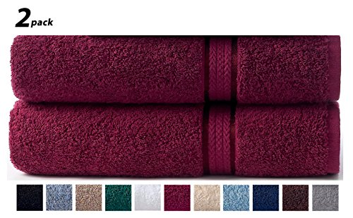 Cotton Craft – 2 Pack Ultra Soft Oversized Extra Large Bath Sheet 35×70 Burgundy – Weighs 33 Ounces – 100% Pure Ringspun Cotton – Luxurious Rayon trim – Ideal for everyday use – Easy care machine wash