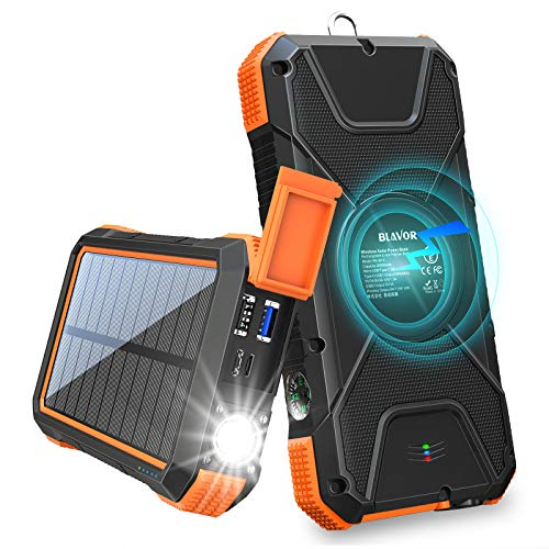BLAVOR Solar Charger Power Bank 18W, QC 3.0 Portable Wireless Charger 10W/7.5W/5W with 4 Outputs & Dual Inputs, 20000mAh External Battery Pack IPX5 Waterproof with Flashlight & Compass