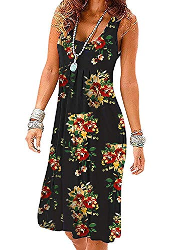 Akihoo Womens Short Sleeve Dresses Floral Empire Waist Midi Vintage Summer Pleated Dress YH3-Flower Black Leaves S