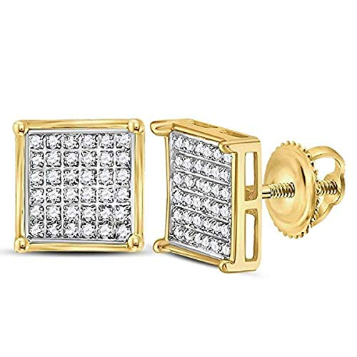 Roy Rose Jewelry 14K Yellow Gold Womens Round Diamond Square Cluster Earrings 1/4-Carat tw