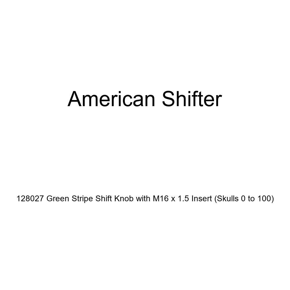 American Shifter 128027 Green Stripe Shift Knob with M16 x 1.5 Insert Skulls 0 to 100