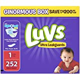 Luvs Ultra Leakguards Disposable Diapers Newborn Size 1, 252 Count, ONE MONTH SUPPLY