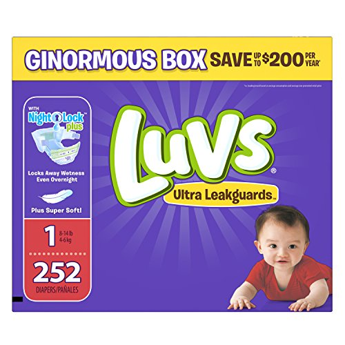 Luvs Ultra Leakguards Disposable Baby Diapers Newborn Size 1, 252 Count