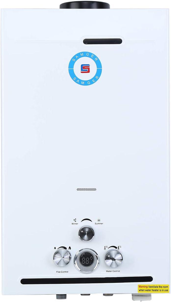 Samger Samger 12L Tankless Water Heater Digital Display 3.2GPM LPG Instant Water Boiler Stainless Steel Liquefied Petroleum Gas Hot Water Burner