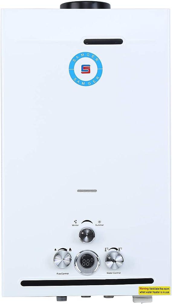 Samger Calentador de Agua Sin Tanque 12L LPG Butano Calentador de Gas Instantaneo 3.2GPM Quemador de Agua Caliente de Gas Licuado de Acero Inoxidable ...