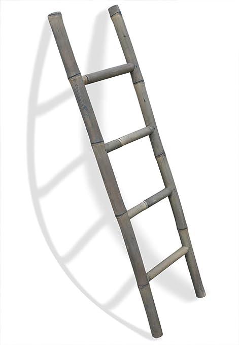 LioLiving (#400125) - Toallero de bambú, forma de escalera, 150 x 41 cm, color gris: Amazon.es: Hogar