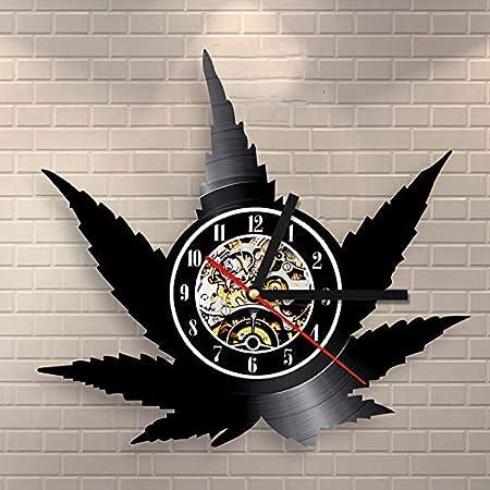 BFMBCHDJ Reloj de Pared con Forma de Hoja de Arce, Reloj de Pared con Registro de Vinilo Antiguo, decoración Creativa para el hogar, Reloj Colgante, Reloj de Pared LED 3D